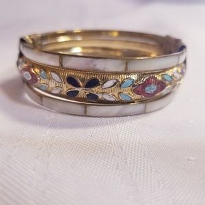 Jewelry - Vintage Cloisonne Bracelet Bangle with Pin Clasp